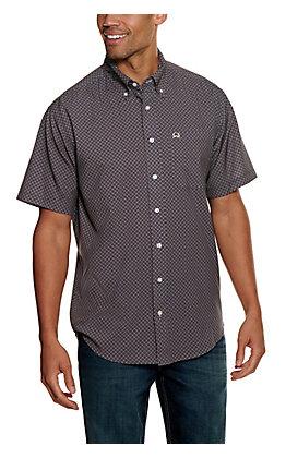Cinch Men's ArenaFlex Navy with Orange and White Medallion Print Short Sleeve Western Shirt