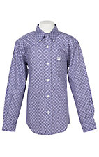 Cinch Boys Purple Wallpaper Print Western Button Down Shirt