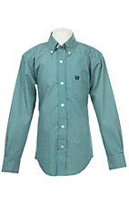 Cinch Boys Teal Hexagon Print Western Button Down Shirt