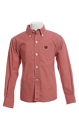 Boy's Cinch Long Sleeve Coral With Maroon Geo Multi Print Western Shirt