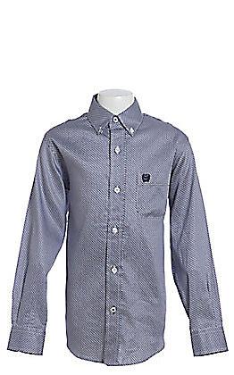 c76c7bb5 Cinch Boy's Navy And White Geo Print Long Sleeve Western Shirt