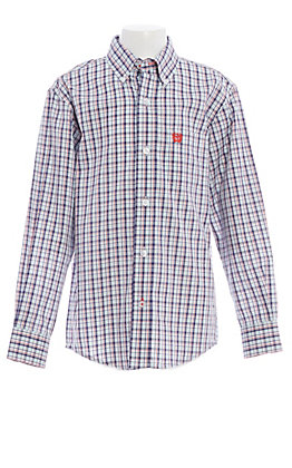 Cinch Boys' Red White and Blue Plaid Long Sleeve Western Shirt