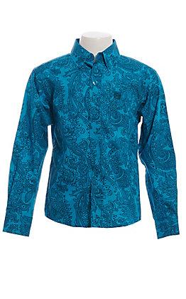 Cinch Boys' Teal Paisley Print Long Sleeve Button Down Western Shirt