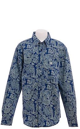 Cinch Boys' Navy with Mint Paisley Long Sleeve Western Shirt