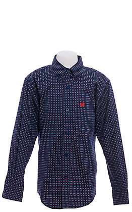 Cinch Boys' Navy with Red Geo Print Long Sleeve Western Shirt