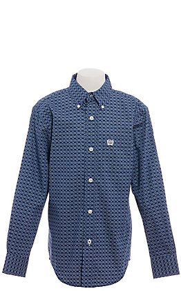 Cinch Boys' Navy Blue & White Geo Print Long Sleeve Western Shirt