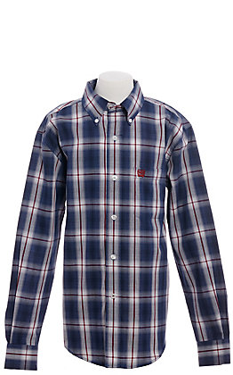 Cinch Boys' Navy & Burgundy Plaid Long Sleeve Western Shirt