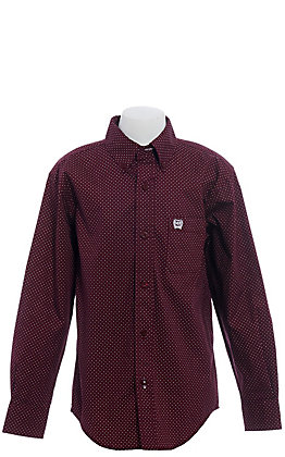 Cinch Boys' Burgundy with Circle Geo Print Long Sleeve Western Shirt