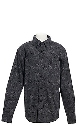 Cinch Boy's Black and Grey Paisley Long Sleeve Western Shirt