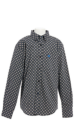 Cinch Boys' Multi Blue Geo Print Long Sleeve Western Shirt
