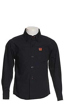 Cinch Boy's Navy, Black & Orange Geo Print Long Sleeve Western Shirt