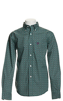 Cinch Boys' Teal and Burgundy Medallion Print Long Sleeve Western Shirt