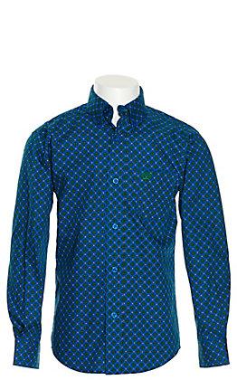Cinch Boys' Royal Blue and Green Medallion Print Long Sleeve Western Shirt