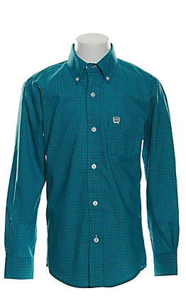 Cinch Boys' Blue with Black Geo Print Long Sleeve Western Shirt