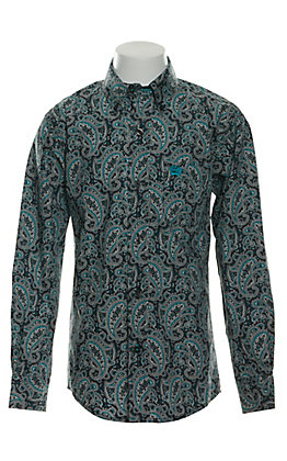 Cinch Boys' Grey with Turquoise & White Paisley Print Long Sleeve Western Shirt