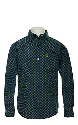 Cinch Boy's Blue Geo Print Long Sleeve Western Shirt