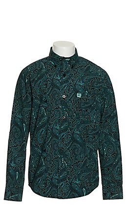 Cinch Boys' Black with Turquoise Paisley Print Long Sleeve Western Shirt