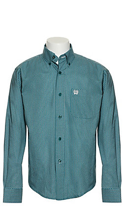 Cinch Boys' Teal with White Dot Print Long Sleeve Western Shirt