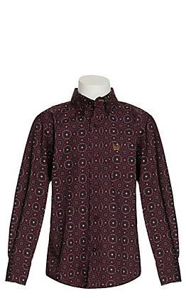Cinch Boy's Burgundy Medallion Long Sleeve Western Shirt