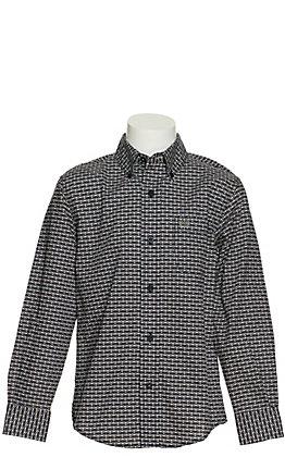 Cinch Boy's Navy Geo Print Long Sleeve Western Shirt