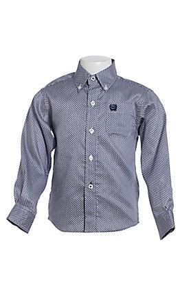 Cinch Toddler Boys' Navy And White Geo Print Long Sleeve Western Shirt