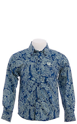 Cinch Boys' Toddler Navy with Mint Paisley Long Sleeve Western Shirt