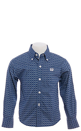 Cinch Boys' Toddlers Navy Blue & White Geo Print Long Sleeve Western Shirt