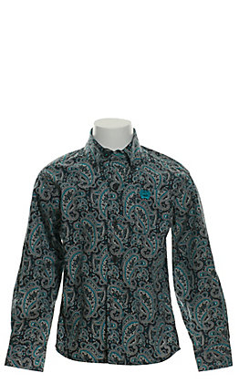 Cinch Toddlers' Grey with Turquoise & White Paisley Print Long Sleeve Western Shirt