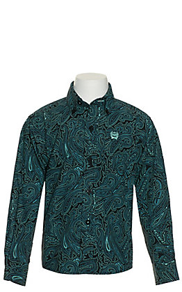 Cinch Toddlers' Black with Turquoise Paisley Print Long Sleeve Western Shirt