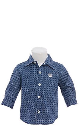 Cinch Boys' Infant Navy Blue & White Geo Print Long Sleeve Western Shirt