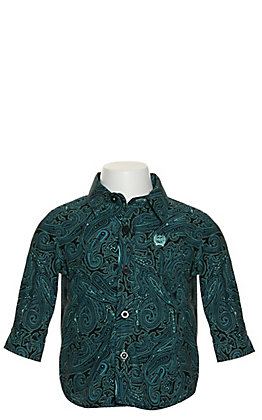 Cinch Infants' Black with Turquoise Paisley Print Long Sleeve Western Shirt