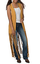 Crazy Train Women's Mustard Fringe Duster Vest