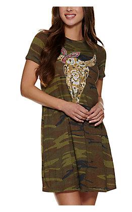 XOXO Art Co. Women's Camp Cow Skull T-shirt Dress