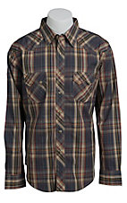 Wrangler Men's Khaki and Grey Plaid Western Shirt MV1354MX- Big & Tall Sizes