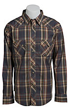 Wrangler Men's Khaki and Grey Plaid Western Shirt