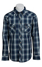 Wrangler Men's Blue Plaid Western Shirt MV1360MX- Big & Tall Sizes