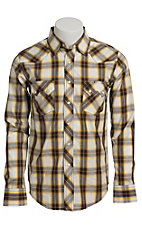 Wrangler Men's Vintage Black, White, and Yellow Plaid Western Shirt- Big & Talls