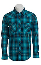 Wrangler Men's Vintage Turquoise and Blue Plaid Western Shirt- Big & Talls