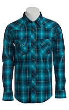 Wrangler Men's Vintage Turquoise and Blue Plaid Western Shirt