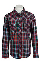 Wrangler Men's Vintage Black & Red Plaid Western Shirt- Big & Talls