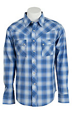 Wrangler Men's Vintage Blue & White Plaid Western Shirt- Big & Talls