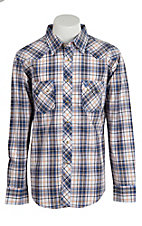 Wrangler Men's Vintage Blue & Orange Plaid Western Shirt- Big & Talls