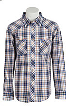 Wrangler Men's Vintage Blue & Orange Plaid Western Shirt