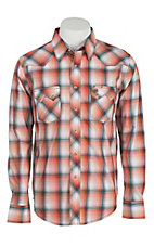 Wrangler Men's Vintage Orange & Blue Plaid L/S Western Shirt- Big & Talls