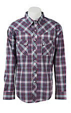Wrangler Men's Vintage Blue & Red Plaid Western Shirt