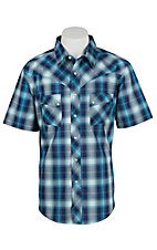 Wrangler Men's Blue Plaid S/S Western Shirt - Big & Tall MV14019X