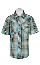Wrangler Men's Turquoise Plaid S/S Western Shirt MV14029