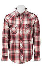 Wrangler Men's Vintage Red & Black Plaid L/S Western Shirt