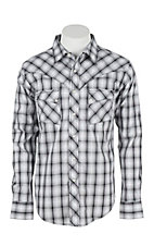 Wrangler Men's L/S Black and White Plaid Western Snap Shirt - Big & Tall
