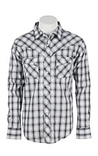 Wrangler Men's L/S Black and White Plaid Western Snap Shirt